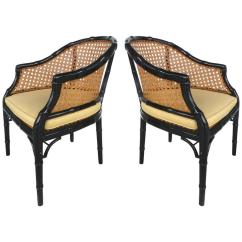 French Barrel Chair Hanging Nz Vintage Pair Of Lacquered Faux-bamboo And Cane Chairs At 1stdibs