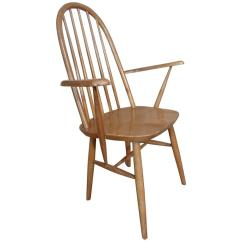 Bedroom Chair Retro Canoe Back 20th Century Vintage Wooden Armchair Or For Sale