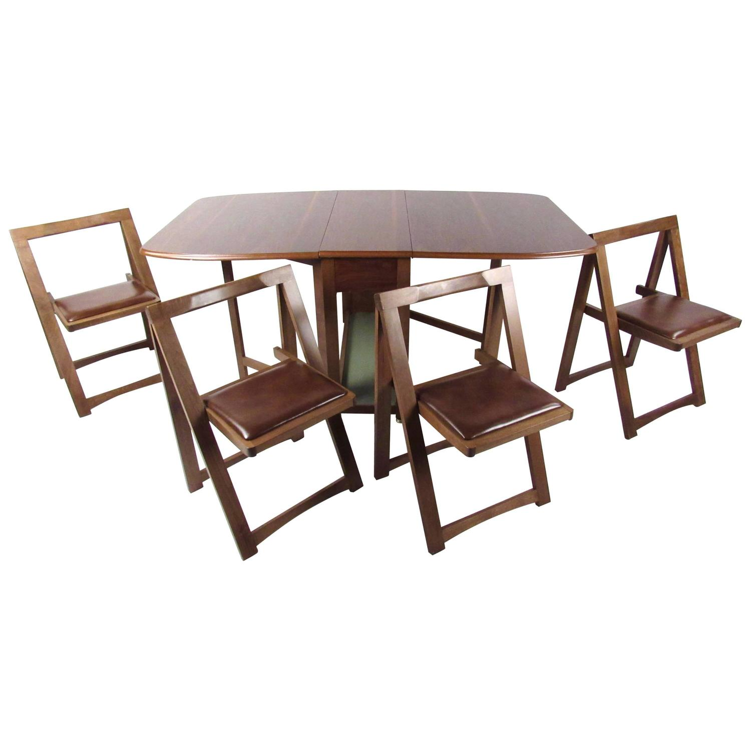 Drop Leaf Table With Chairs Mid Century Modern Rolling Drop Leaf Table With Chairs For