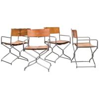 Set of Four Chrome and Leather Folding Directors Chairs at ...