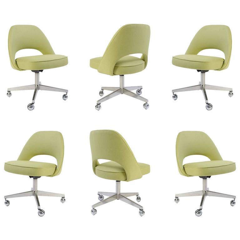 armless chair office baby trend high target saarinen executive chairs in green weave swivel base set of 6 for sale