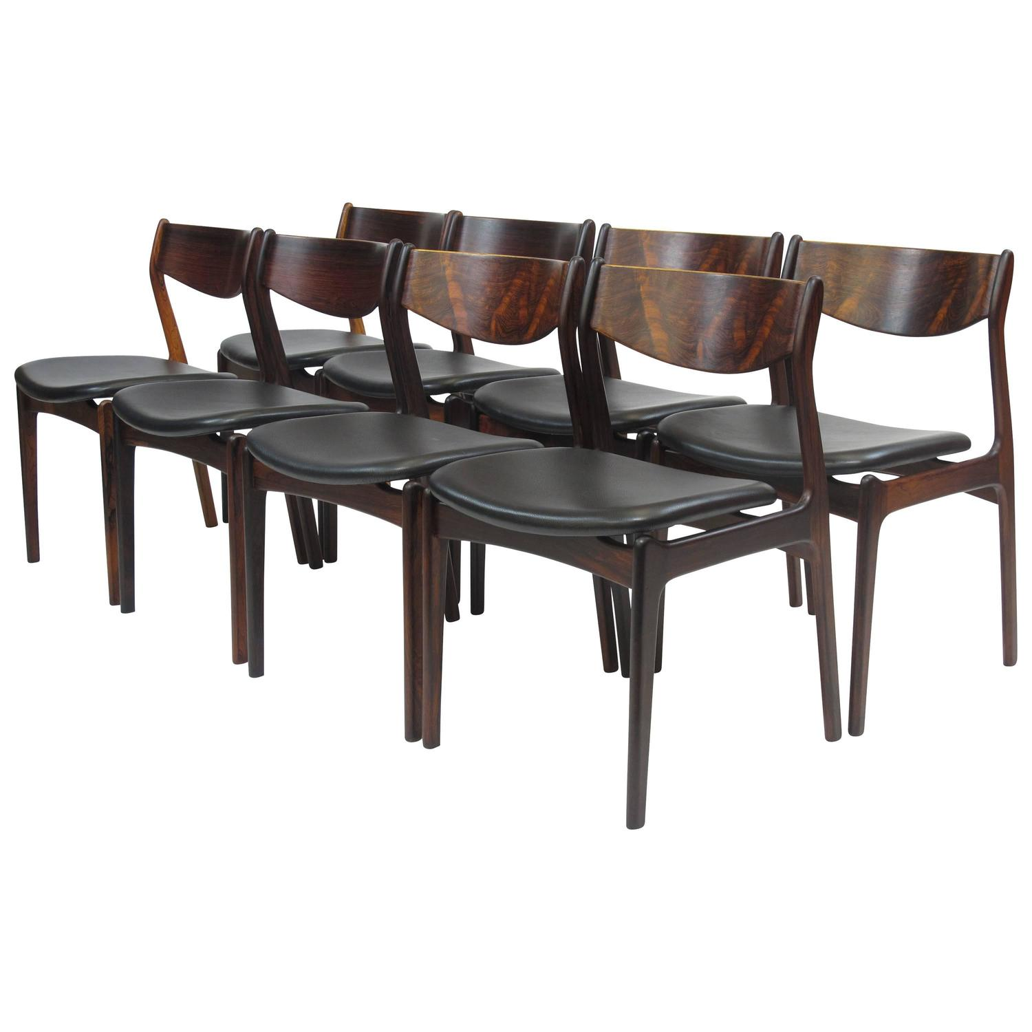 Black Leather Dining Room Chairs Eight Jorgensen Danish Rosewood Dining Chairs In Black