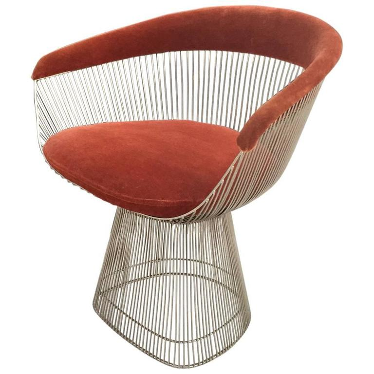 mid century modern wire chair ergonomic and ottoman warren platner for knoll accent at 1stdibs sale