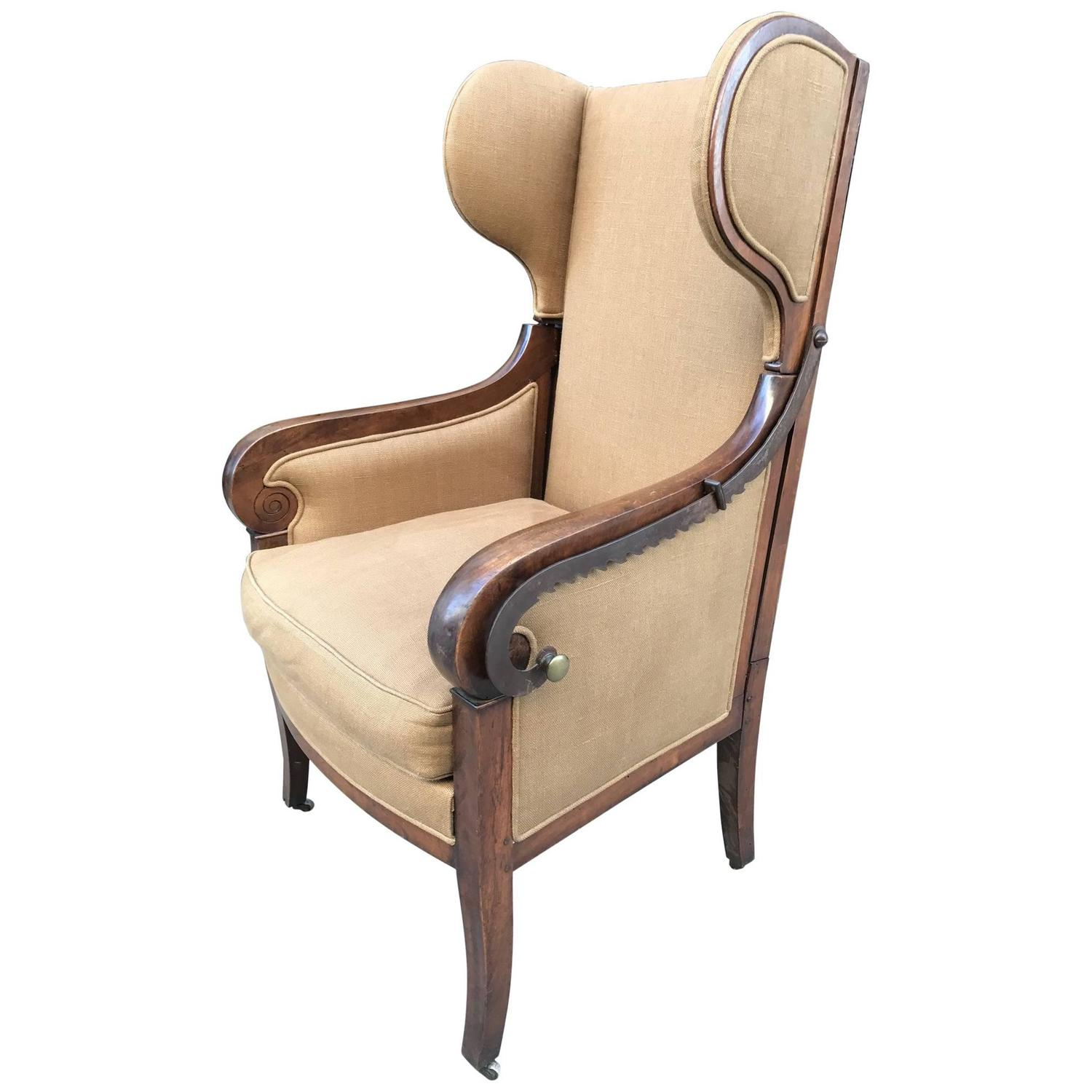 reclining wingback chair ll bean all weather adirondack antique biedermeier for sale at