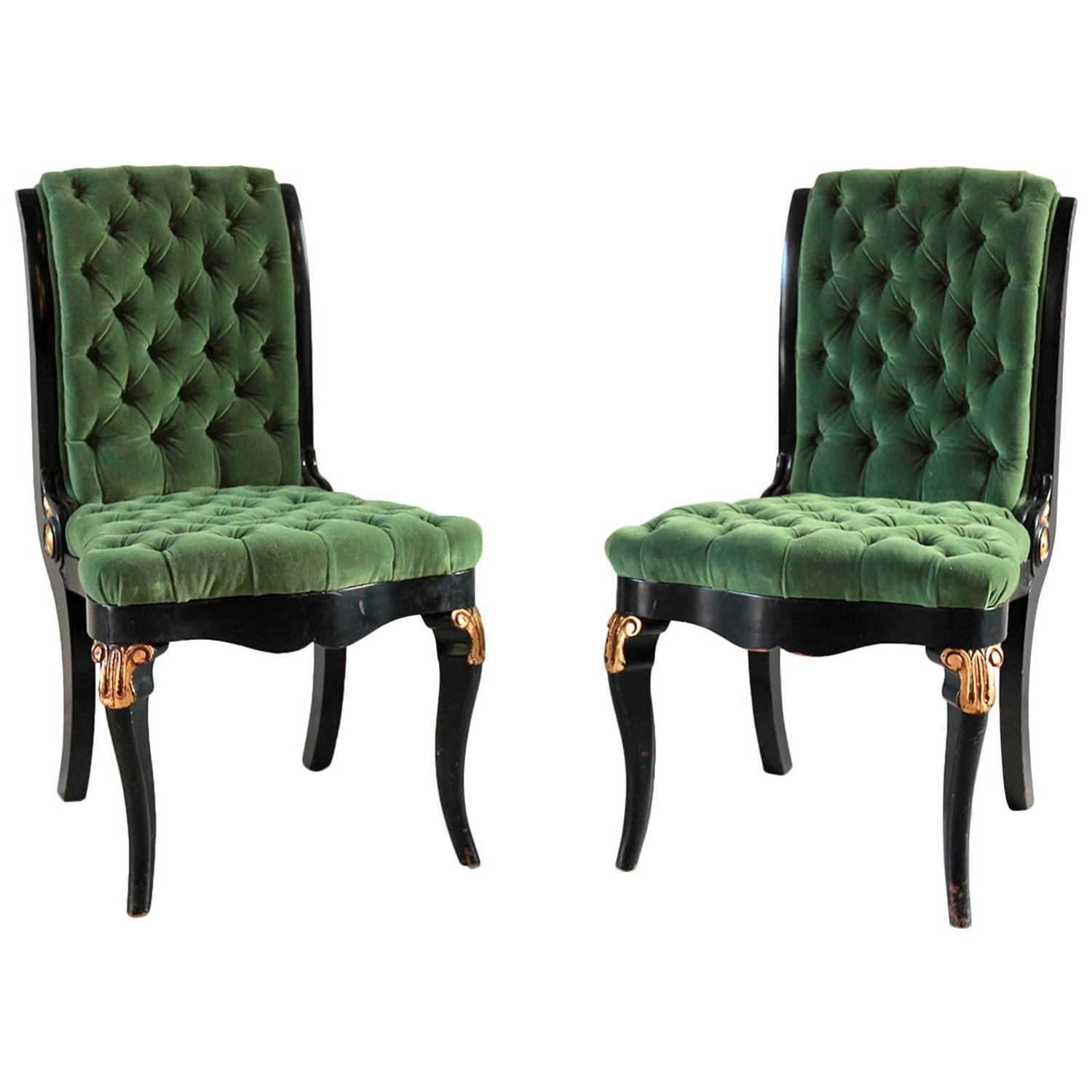 Gold Velvet Chair Black And Gold Painted Regency Chair Upholstered In Green