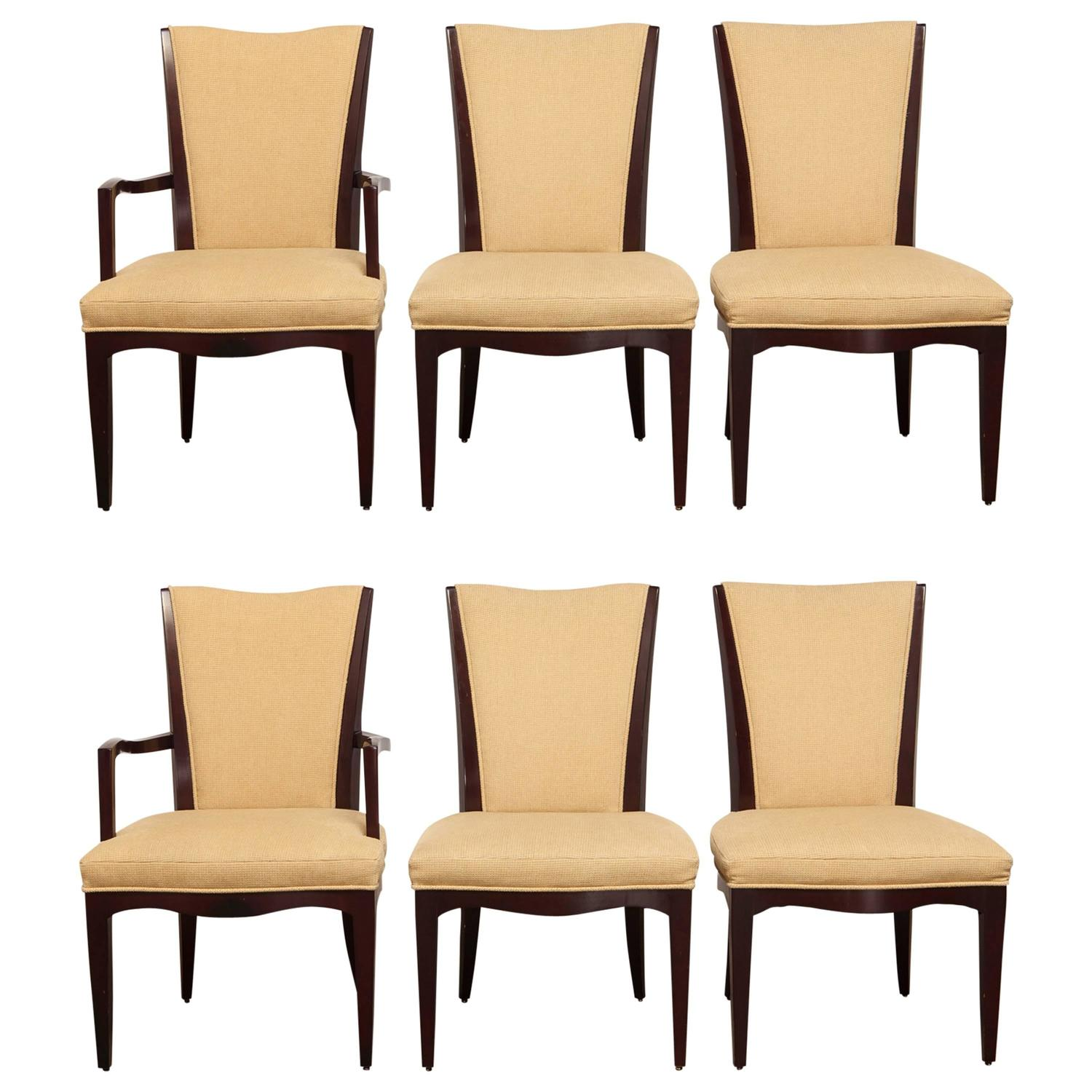 Baker Dining Chairs Set Of Six Mahogany Dining Chairs By Barbara Barry For