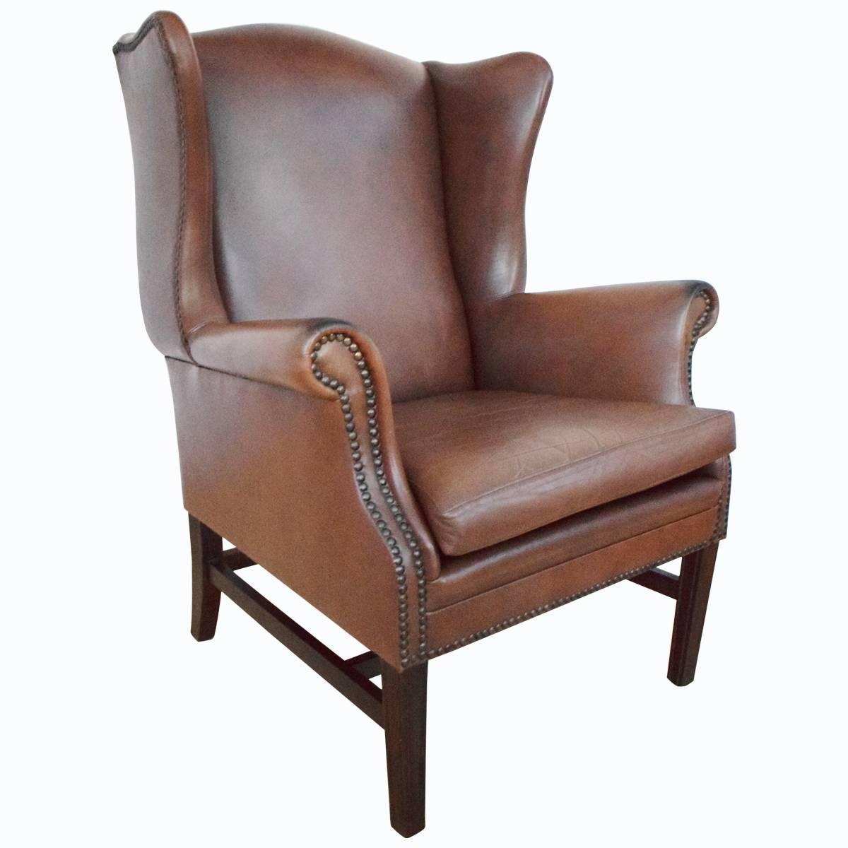 Brown Leather Wingback Chair Antique Style Georgian Brown Leather Wingback Armchair For