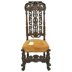 Tall Back Chairs Shower Chair Bed Bath And Beyond Finely Carved 19th Century Figural Walnut Italian Renaissance For Sale