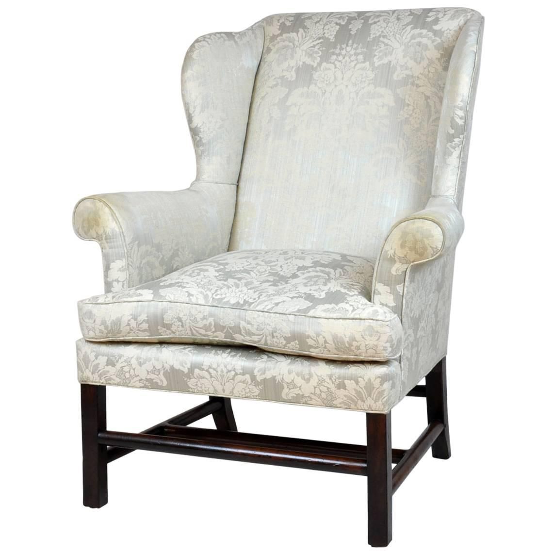 Stretcher Chair Georgian English Rolled Arm Wing Chair With Unusual Turned
