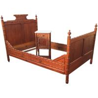 Antique French Faux Bamboo Pinewood Set, Bed with ...