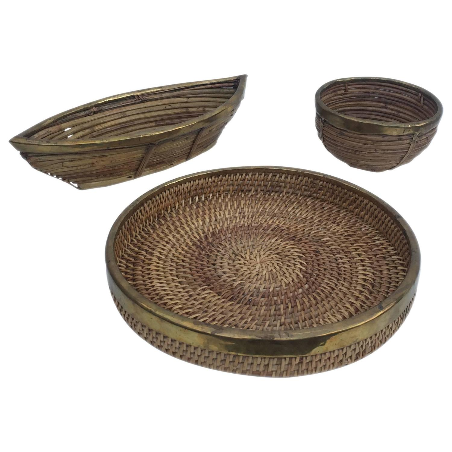 Wicker Bowl Chair Trio Of Rattan And Brass Bowls For Sale At 1stdibs