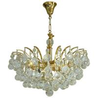 Vintage Crystal Ball Chandelier Attributed to Swarovski