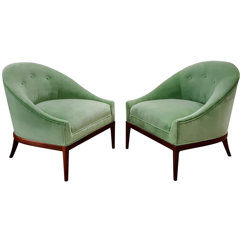 modern slipper chair the best office in world pair of chairs celadon green velvet 1960s at 1stdibs