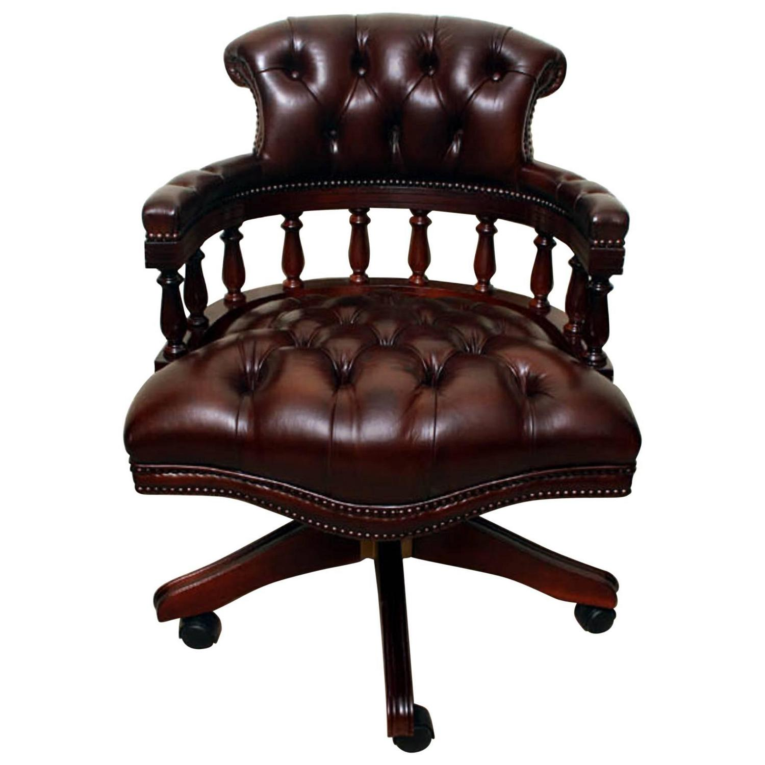 unique leather office chairs salon chair and shampoo bowl english handmade captains desk for sale at