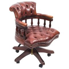Revolving Chair In English Stand Older Adults Handmade Leather Captains Desk Champagne For Sale At 1stdibs