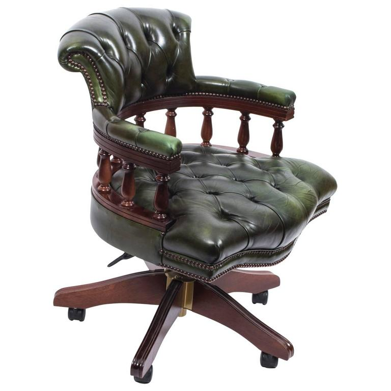 captains chair lift maintenance english hand made leather desk green for sale at 1stdibs