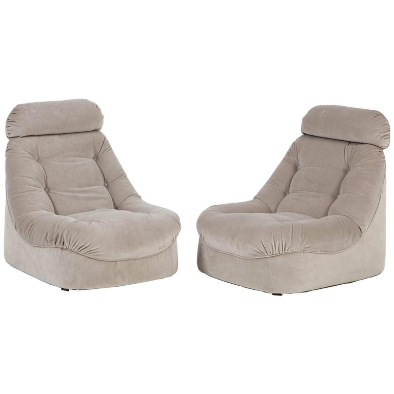 leanback lounger chairs hanging canada pair of mid century modern lean back loungers in grey velvet at 1stdibs for sale