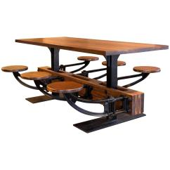 Industrial Dining Table And Chairs Desk Chair Rug Vintage Iron Cafeteria Swing Out Seat