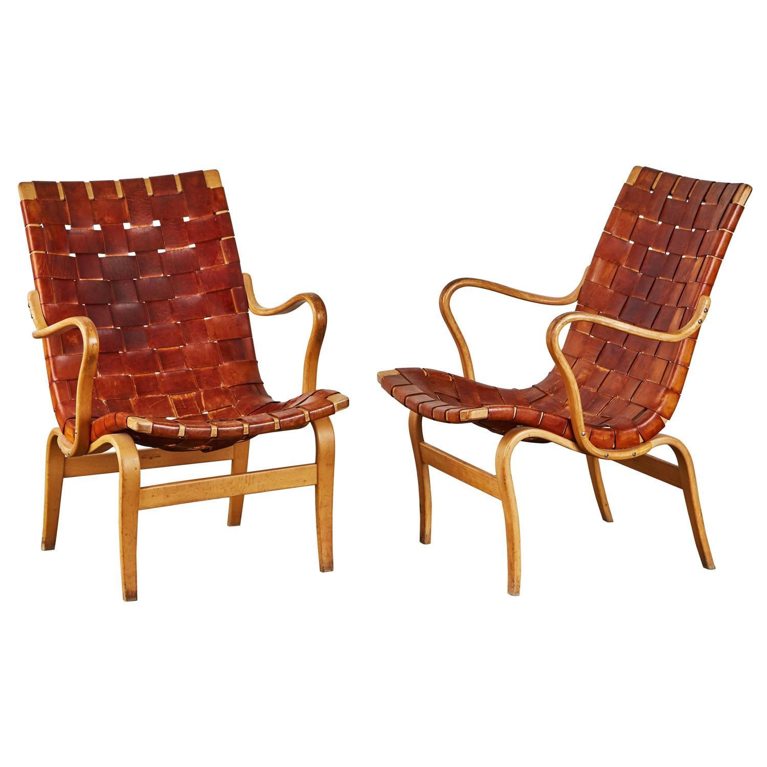 Woven Leather Chair Pair Of Woven Leather Eva Chairs By Bruno Mathsson For