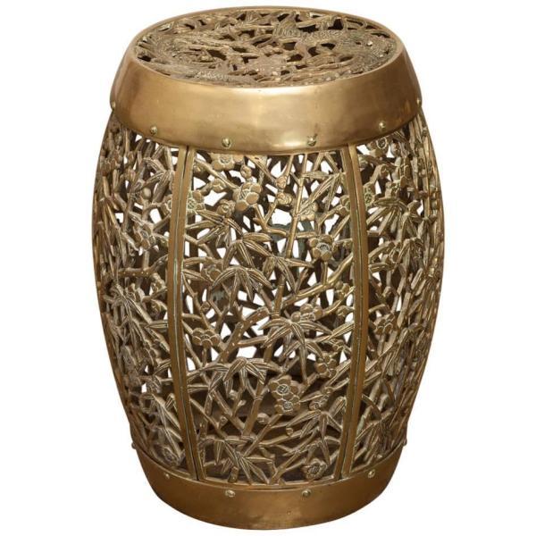 Chinese Brass Drum Drink Table Garden Stool