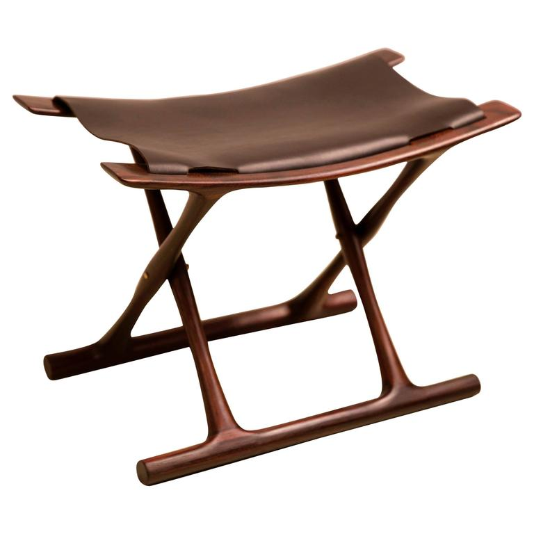 rocking chair with footstool india rimworld vs stool egyptian folding by ole wanscher in indian rosewood and black leather for sale