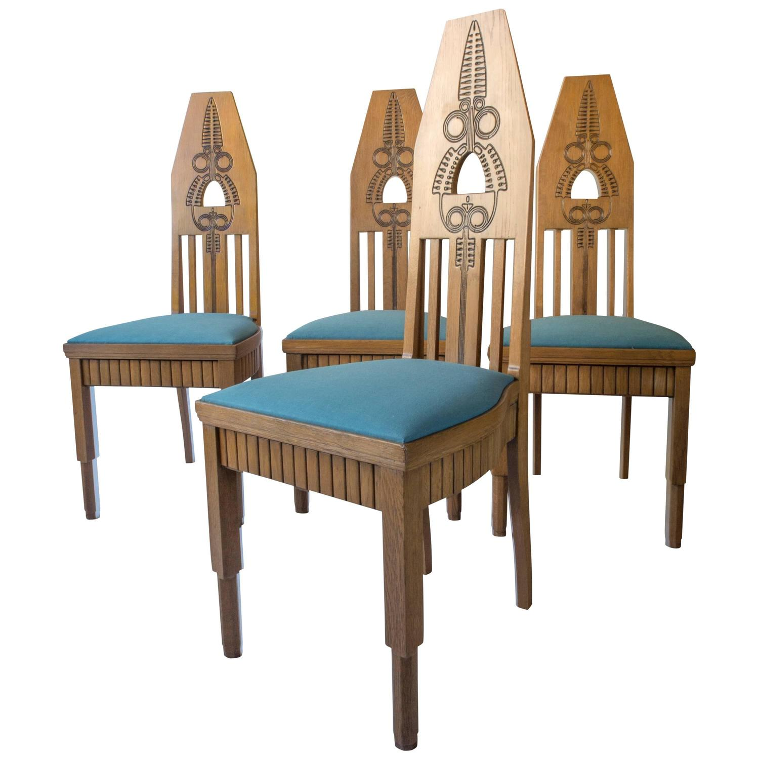 z shaped high chair cow hide chairs set of four finnish carved oak back jugend for
