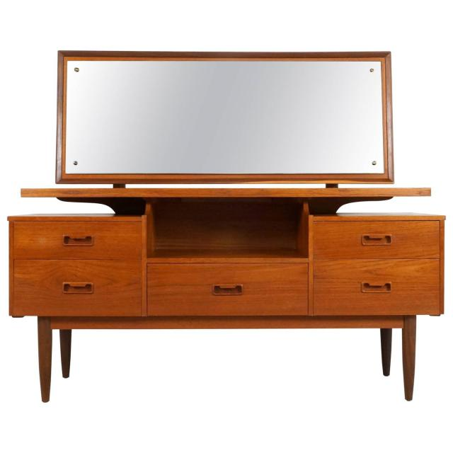 Danish Modern Teak Vanity or Dressing Table with Mirror 1960s For