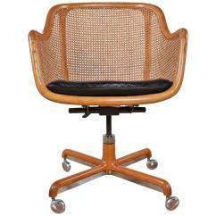 Swivel Chair Office Warehouse Pink Desk Mid Century Modern Cane By Ward Bennett