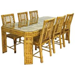 Bamboo Dining Chair Slipcovers Diy Mid Century And Rattan Table Six Chairs