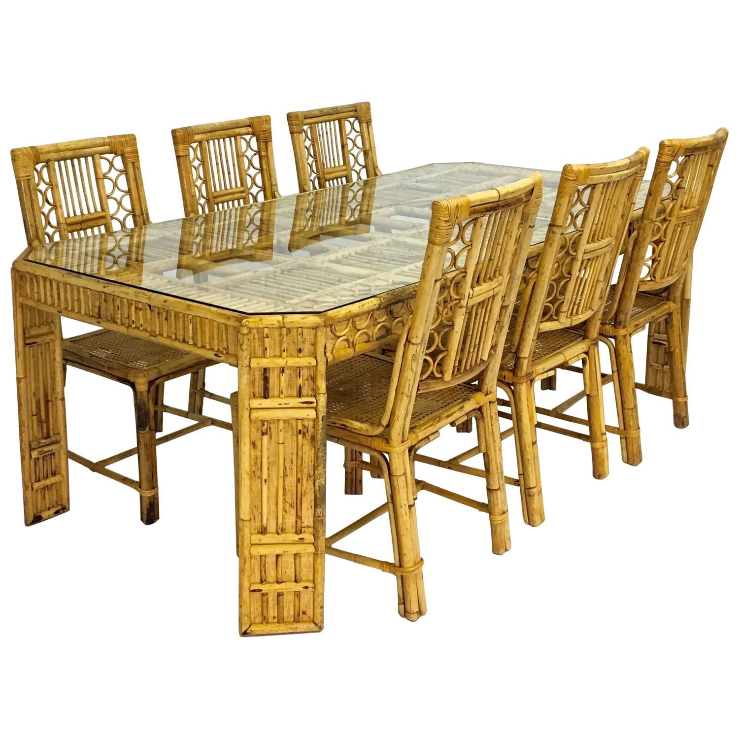 Bamboo Dining Chair Mid Century Bamboo And Rattan Dining Table And Six Chairs