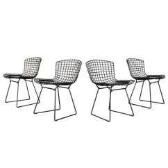 Black Wire Chair Mickey Rocking Set Of 8 Harry Bertoia Side For Knoll Metal