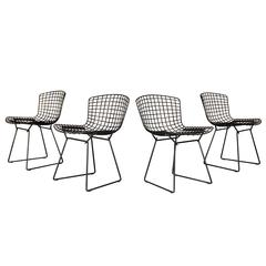 bertoia wire chair original design for restaurant set of four harry knoll black side chairs 8 metal