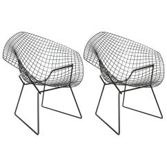 Black Wire Chair Overstock Arm Pair Of Mid Century Bertoia Chairs For Knoll Sale