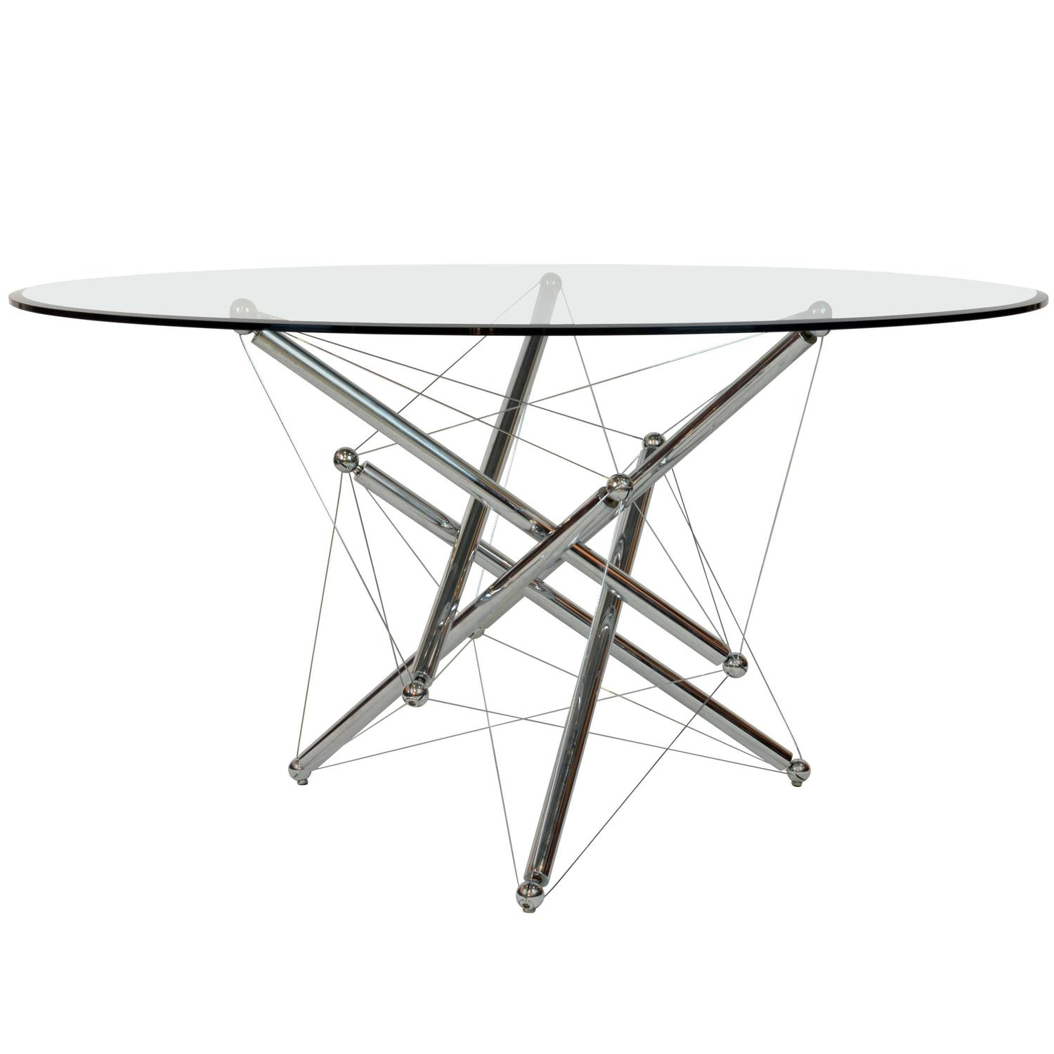 Italian Cassina Chrome and Glass Atomic Style Dining Table
