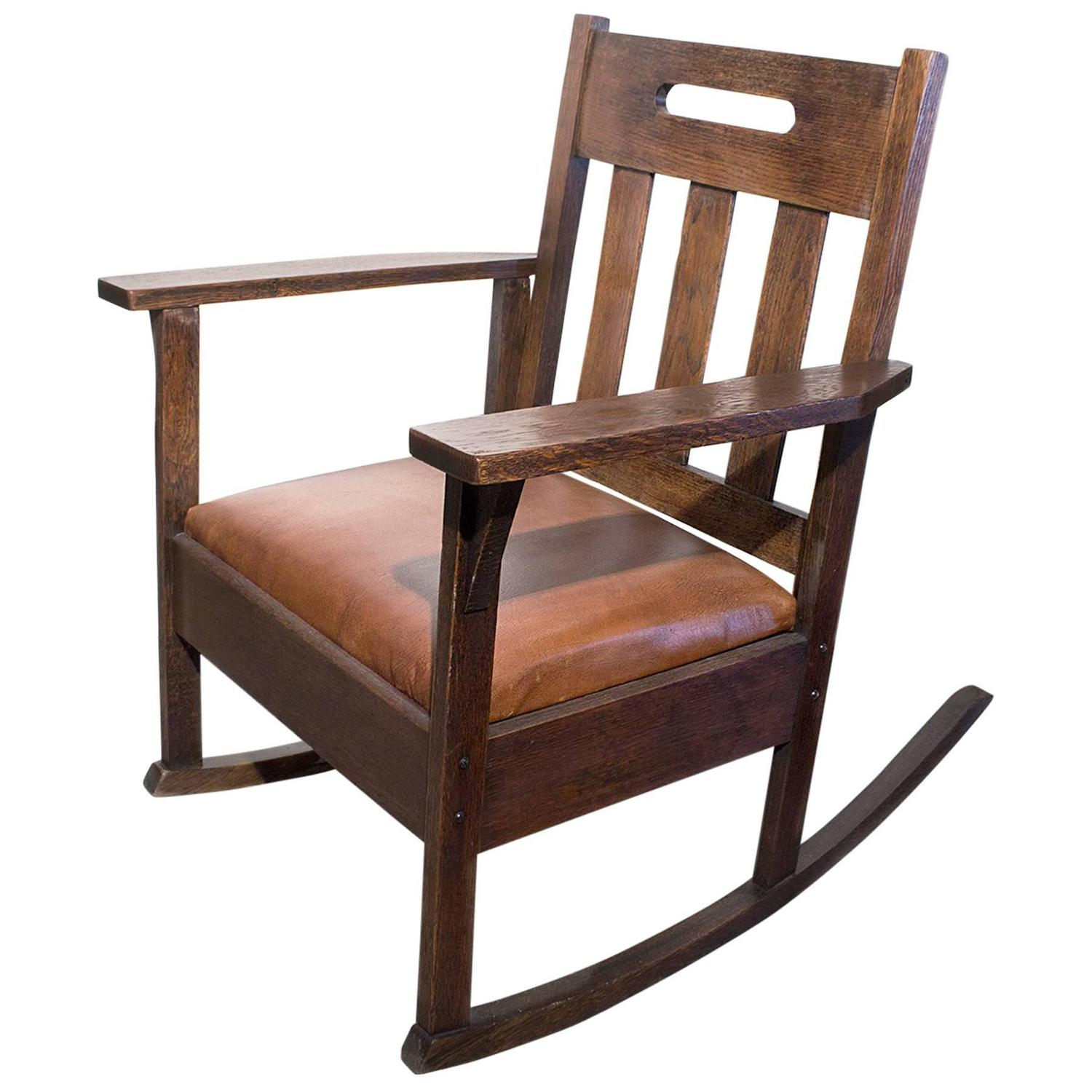 1920s rocking chair covers for wedding stickley style with brown leather circa