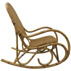 Vintage Wicker Rocking Chair Red Desk No Wheels Bamboo And Armed For Sale At