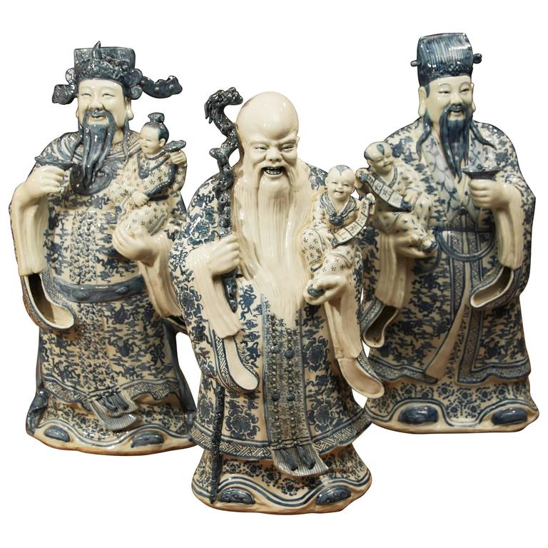 Set Of Chinese Blue And White Nanking Porcelain Wise Men