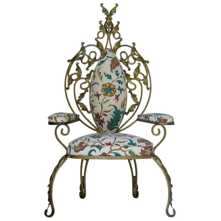 iron throne chair design made of wood baroque italian 1950s gilt for sale at 1stdibs