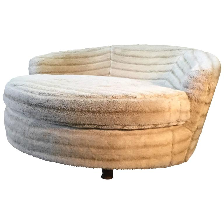 Large Round Lounge Chair Manner of Milo Baughman or