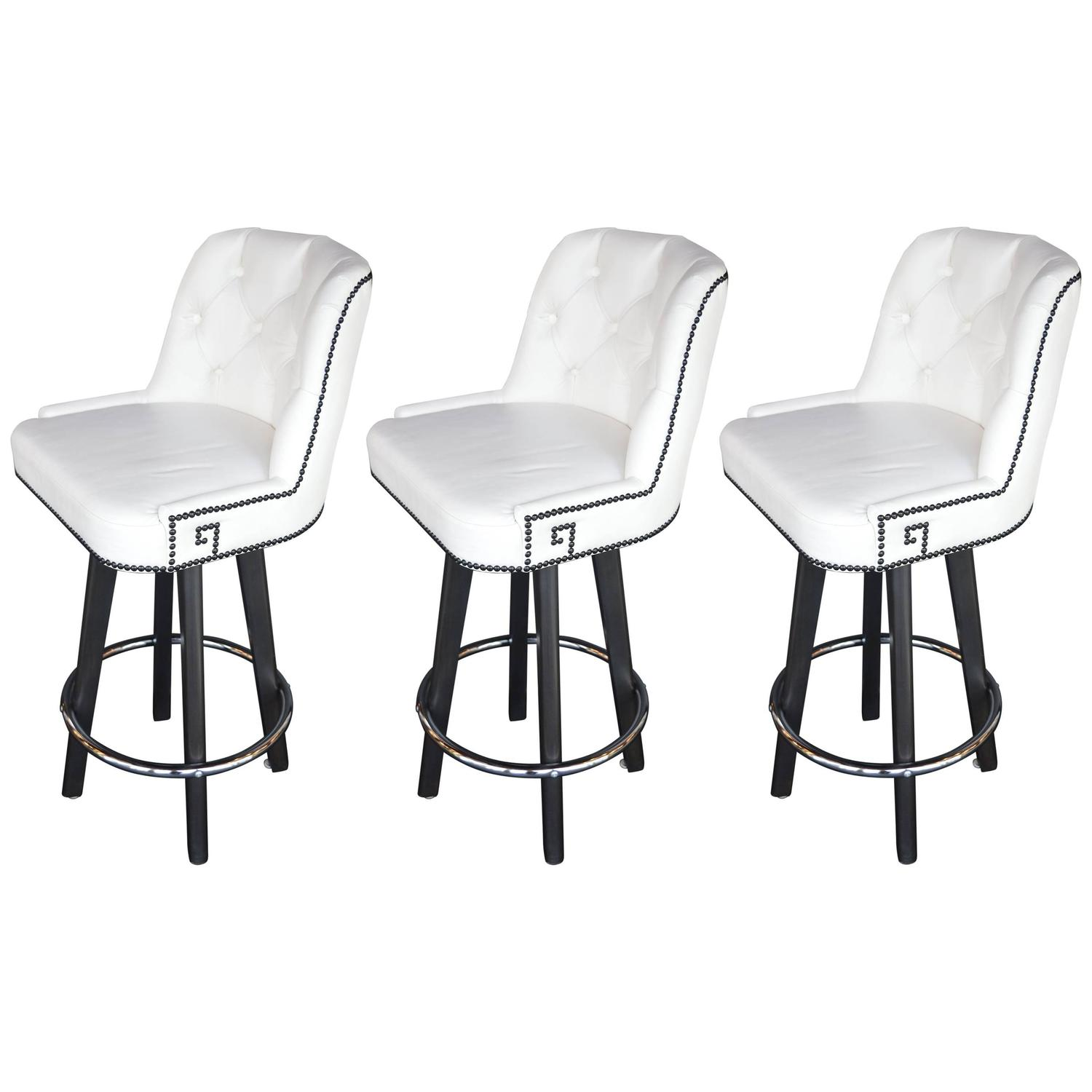 white leather bar chair dining chairs set of 4 india three stools at 1stdibs