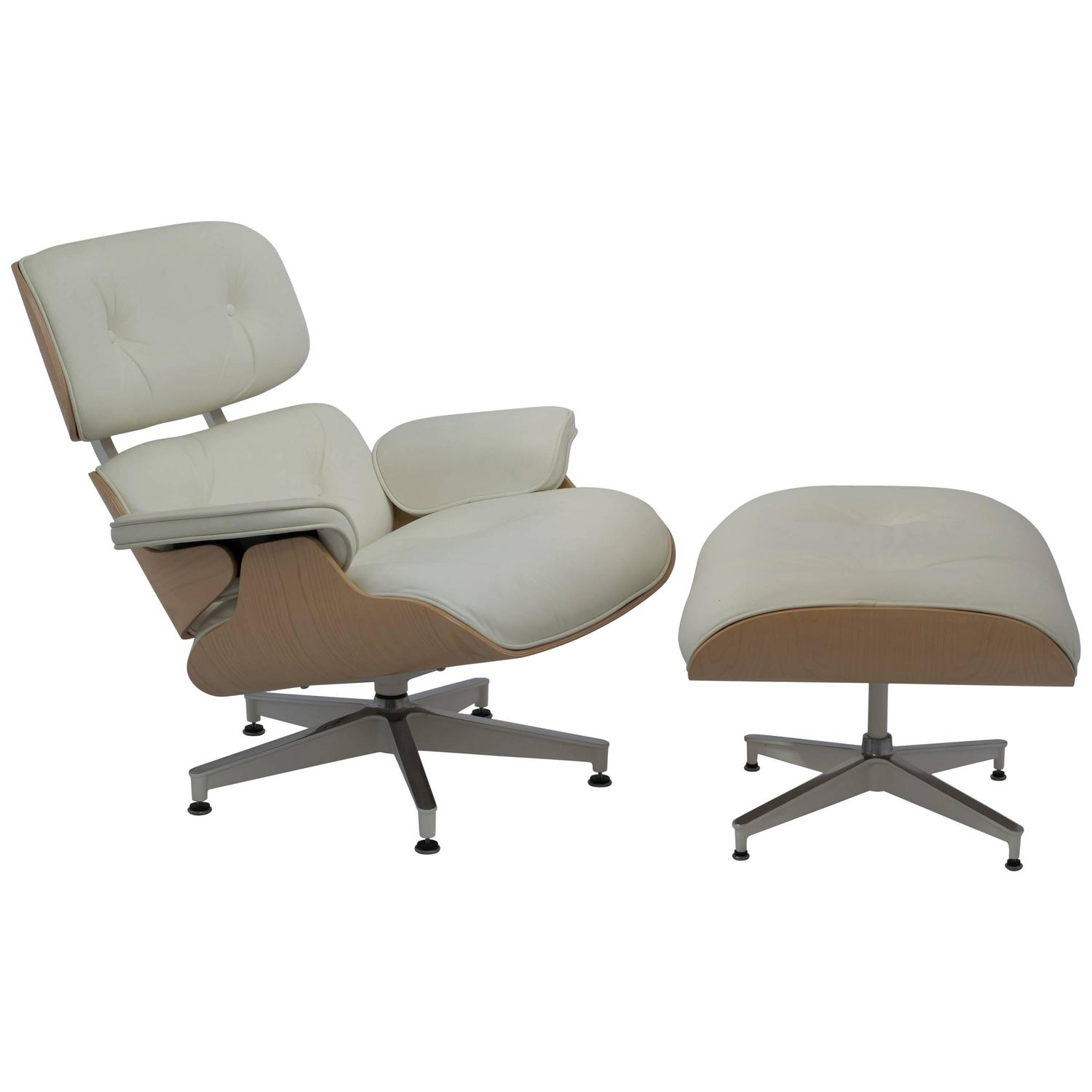 ivory leather office chair swing egg indoor eames lounge and ottoman 670 671 in white ash