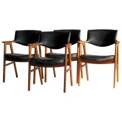Set Of 4 Dining Chairs Metal Chair Rail Erik Kirkegaard For Hong In Teak And Leather Sale