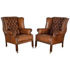 White Leather Wingback Chair Microfiber Round Swivel Pair Of English George Iii Style Tufted Wing Chairs At 1stdibs