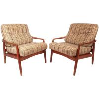 Pair of Mid-Century Modern Danish Teak Lounge Chairs For ...
