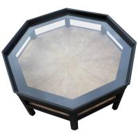 Octagon Shaped Two-Tone Baker Black Coffee Table at 1stdibs