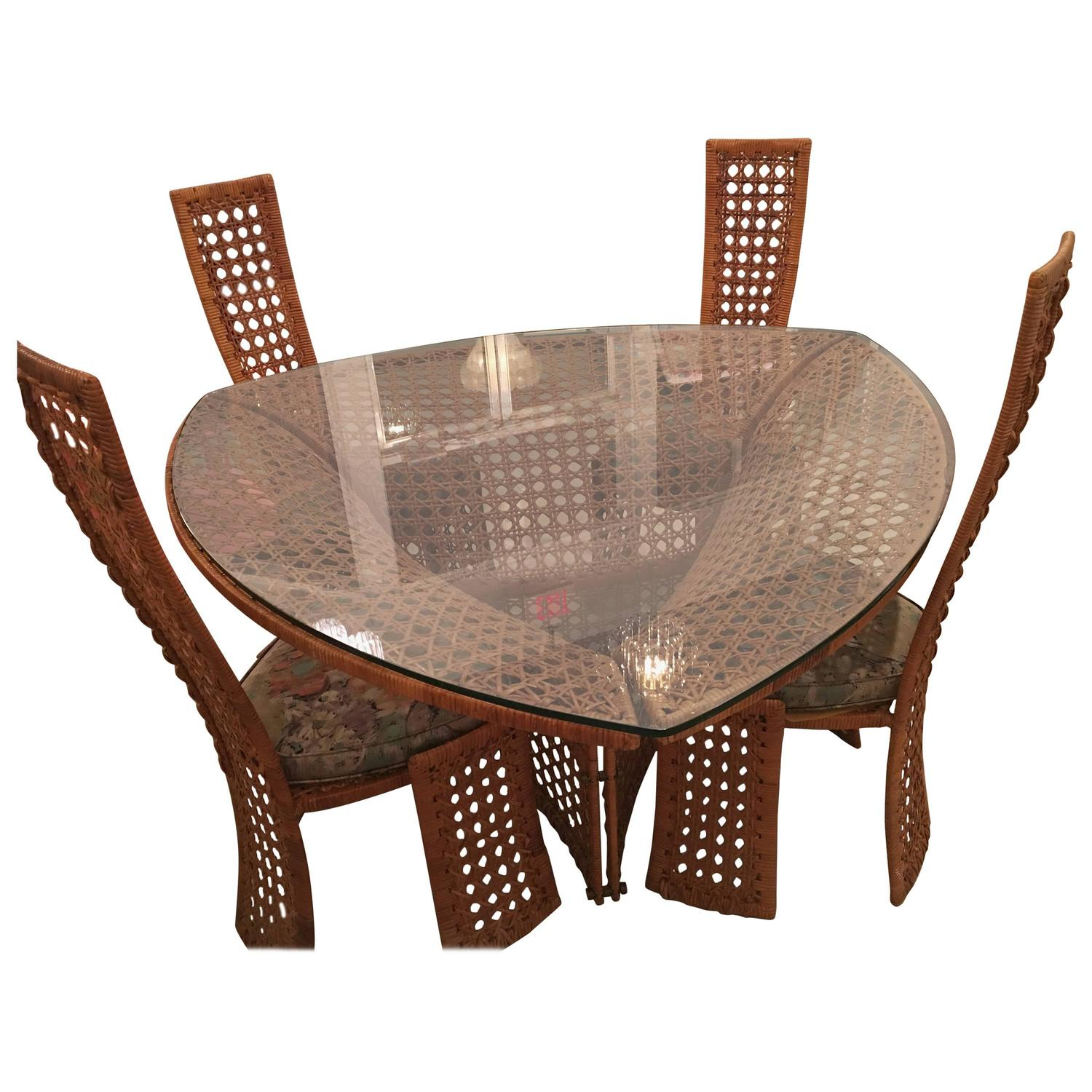 bamboo dining chair lightweight aluminum beach chairs danny ho fong table set and four side rattan