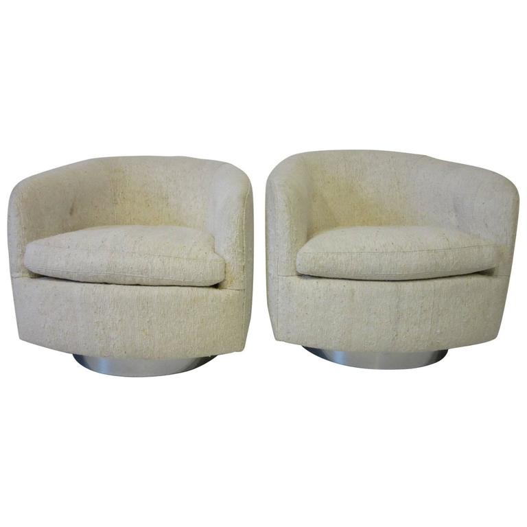 barrel swivel chairs upholstered custom bean bag milo baughman and rocking back at 1stdibs