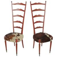 Mid-Century Italian High Back Cowhide and Wood Chairs by ...