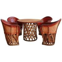 Mexican Leather Wrapped Round Table with Four Equipale ...