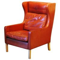 Mid-Century Modern Leather Wingback Chair, circa 1960 at ...